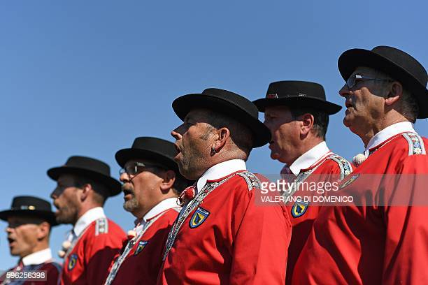 A yodel group sings during the first day of the Federal Alpine Wrestling Festival on August 27 2016 in Payerne western Switzerland The Federal Alpine...