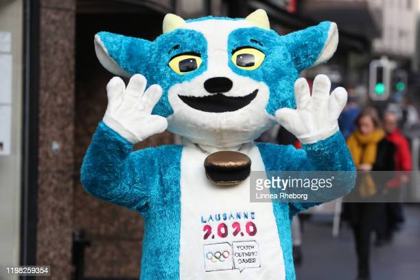 Yodli, the Lausanne 2020 mascot poses for a photo in the city of Lausanne ahead of the Lausanne 2020 Winter Youth Olympics on January 08, 2020 in...