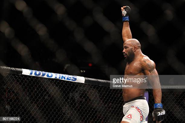 Yoel Romero celebrates after a middleweight fight against Ronaldo Souza during UFC 194 on December 12 2015 in Las Vegas Nevada