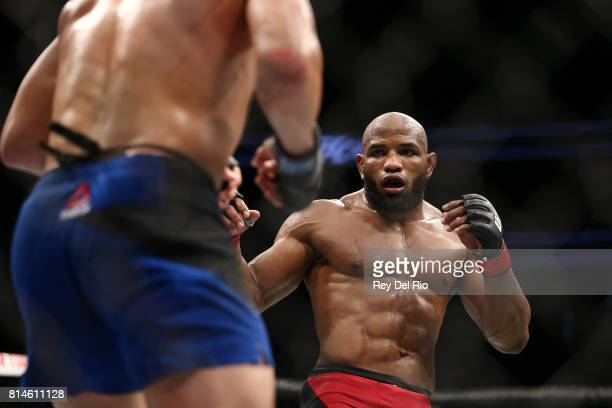 Yoel Romero during his interim UFC middleweight championship bout against Robert Whittaker during the UFC 213 event at TMobile Arena on July 9 2017...