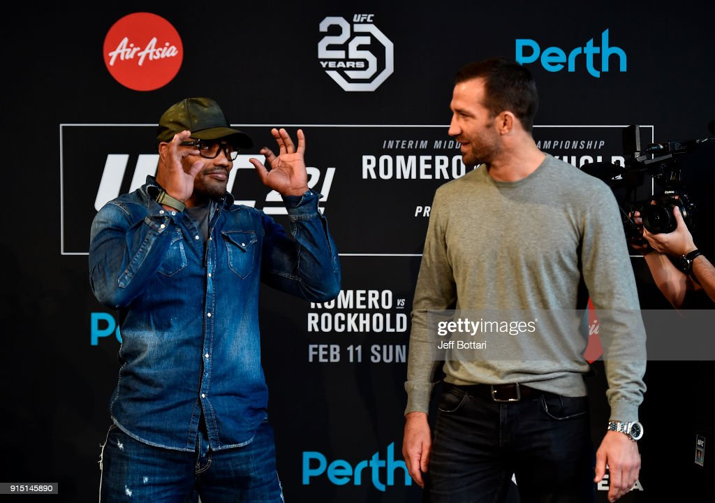 Yoel Romero of Cuba and Luke Rockhold face off during the UFC 221 Press Conference at Perth Arena on February 7, 2018 in Perth, Australia.