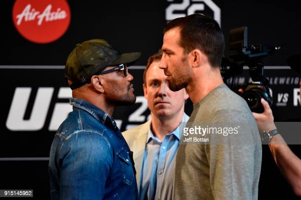 Yoel Romero of Cuba and Luke Rockhold face off during the UFC 221 Press Conference at Perth Arena on February 7 2018 in Perth Australia