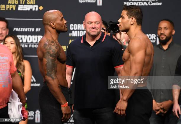 Yoel Romero of Cuba and Paulo Costa of Brazil face off during the UFC 241 weighin at the Anaheim Convention Center on August 16 2019 in Las Vegas...