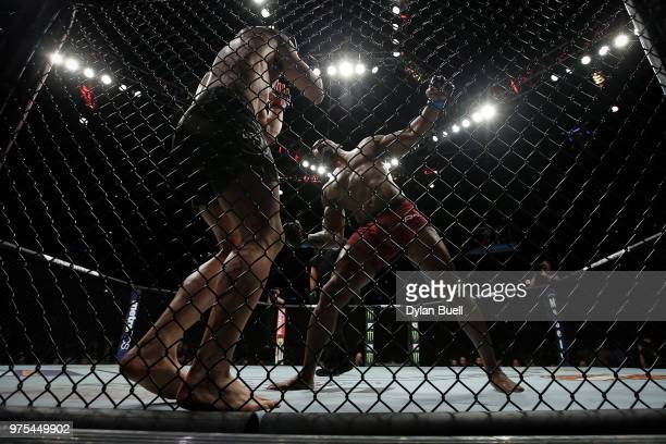 Yoel Romero of Cuba attempts a punch against Robert Whittaker of New Zealand in the third round in their middleweight title fight during the UFC 225...
