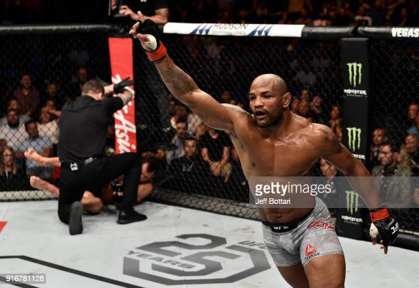 Yoel Romero of Cuba celebrates his knockout victory over Luke Rockhold in their interim middleweight title bout during the UFC 221 event at Perth...