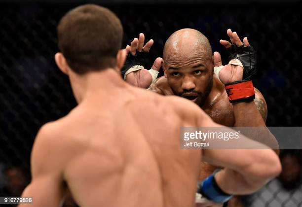 Yoel Romero of Cuba circles Luke Rockhold in their interim middleweight title bout during the UFC 221 event at Perth Arena on February 11 2018 in...