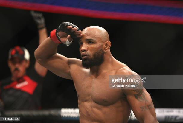Yoel Romero of Cuba enters the Octagon before facing Robert Whittaker of New Zealand in their interim UFC middleweight championship bout during the...