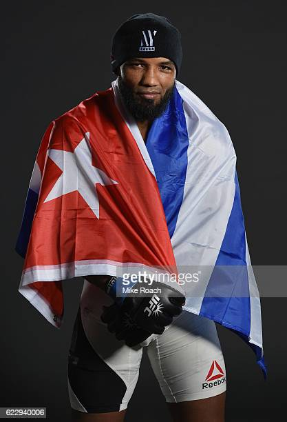 Yoel Romero of Cuba poses for a portrait backstage after his victory over Chris Weidman during the UFC 205 event at Madison Square Garden on November...
