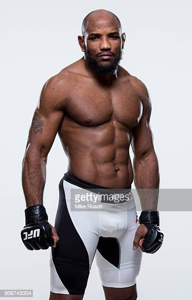 Yoel Romero of Cuba poses for a portrait during a UFC portrait session at MGM Grand Garden Arena on December 8 2015 in Las Vegas Nevada