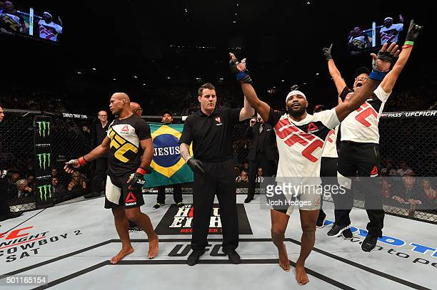 Yoel Romero of Cuba reacts after being declared the winner over Ronaldo 'Jacare' Souza in their middleweight bout during the UFC 194 event inside MGM...
