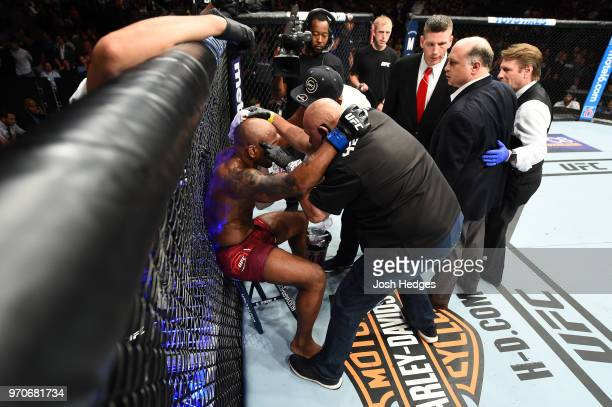 Yoel Romero of Cuba rests between rounds against Robert Whittaker of New Zealand in their middleweight fight during the UFC 225 event at the United...