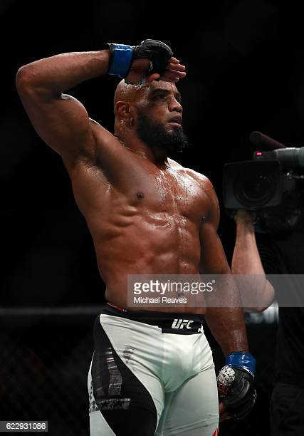 Yoel Romero of Cuba salutes the crowd after his KO victory over Chris Weidman of the United States in their middleweight bout during the UFC 205...