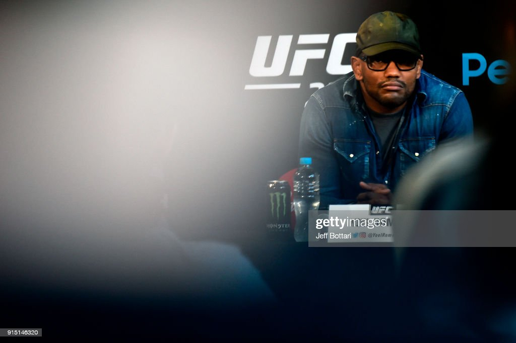 Yoel Romero of Cuba waits to answer questions from the media during the UFC 221 Press Conference at Perth Arena on February 7, 2018 in Perth, Australia.