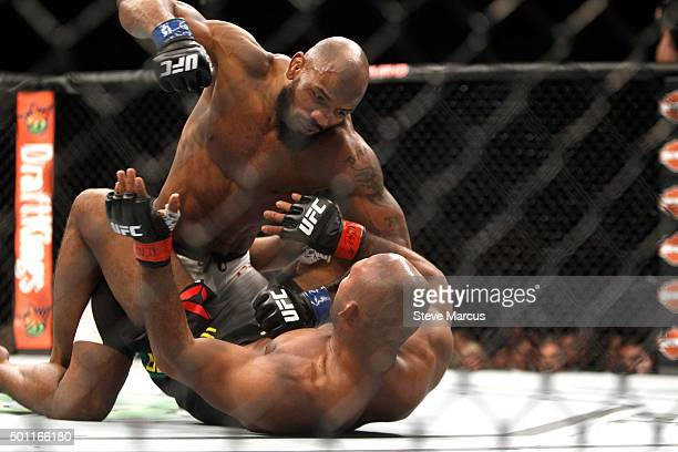 Yoel Romero punches Ronaldo Souza in a middleweight fight during UFC 194 on December 12 2015 in Las Vegas Nevada