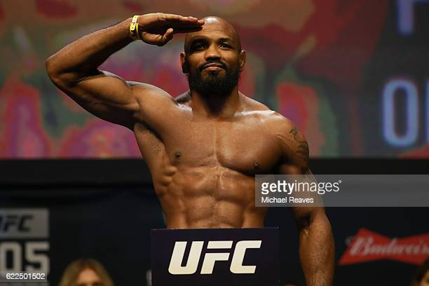 Yoel Romero reacts during UFC 205 Weighins at Madison Square Garden on November 11 2016 in New York City
