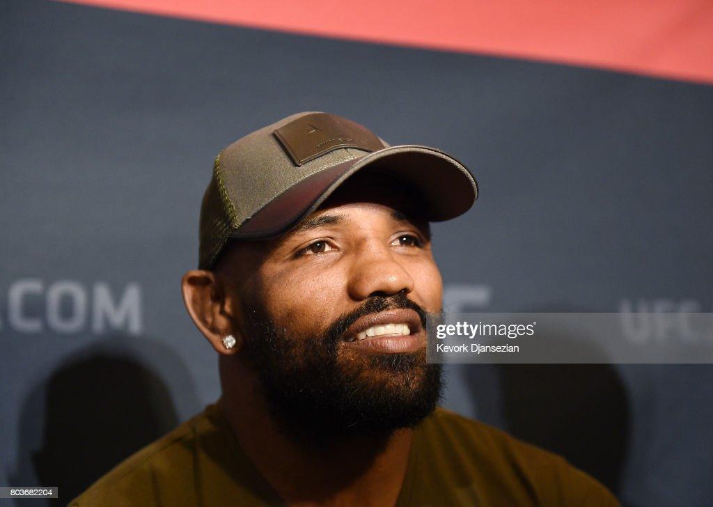 Yoel Romero speaks during the UFC International Fight Week Media Day June 29, 2017, in Los Angeles, California.