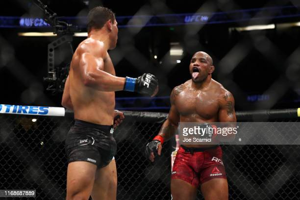 Yoel Romero taunts Paulo Costa in the second round during their Middleweight Bout at UFC 241 at Honda Center on August 17 2019 in Anaheim California