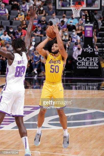 Yoeli Childs of the Los Angeles Lakers shoots a three point basket against the Sacramento Kings during the 2021 California Classic Summer League on...