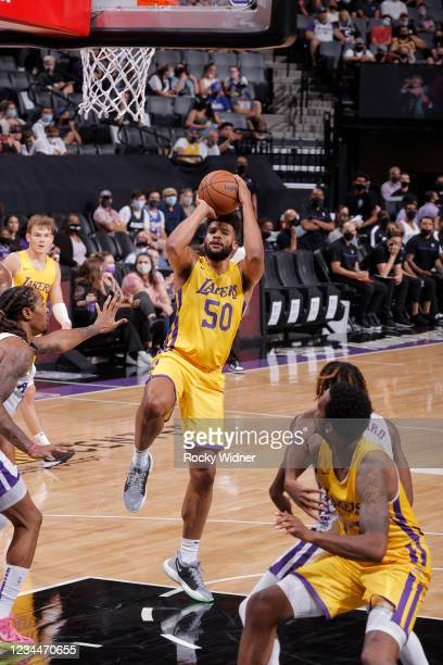 Yoeli Childs of the Los Angeles Lakers shoots the ball against the Sacramento Kings during the 2021 California Classic Summer League on August 4,...
