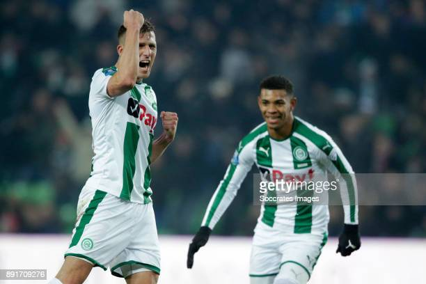 Yoell van Nieff of FC Groningen celebrates 12 during the Dutch Eredivisie match between FC Groningen v PSV at the NoordLease Stadium on December 13...