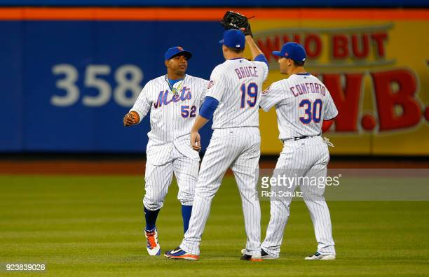 Yoenis Cespedes Jay Bruce and Michael Conforto of the New York Mets celebrate their 52 win over the Miami Marlins in a game at Citi Field on April 9...
