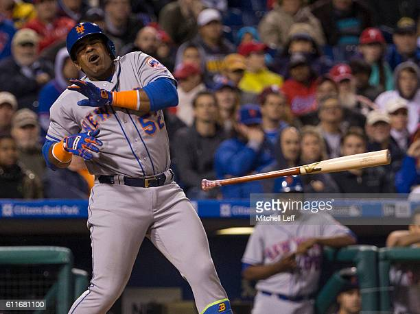 Yoenis Cespedes of the New York Mets avoids getting hit by the pitch in the top of the eighth inning against the Philadelphia Phillies at Citizens...