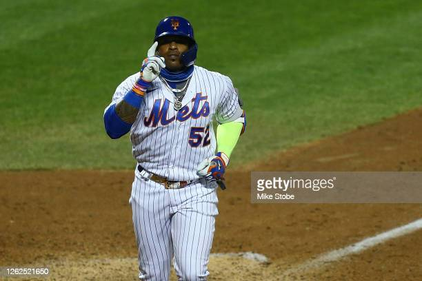 Yoenis Cespedes of the New York Mets celebrates after hitting a home run in the eighth inning against the Boston Red Sox at Citi Field on July 29,...