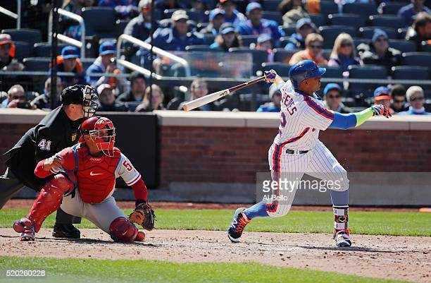 Yoenis Cespedes of the New York Mets hits a sixth inning two run home run against the Philadelphia Phillies during their game at Citi Field on April...