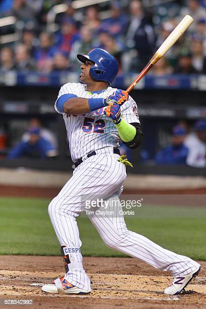 Yoenis Cespedes of the New York Mets hits a two run home run in the first inning off Mike Foltynewicz of the Atlanta Braves during the Atlanta Braves...