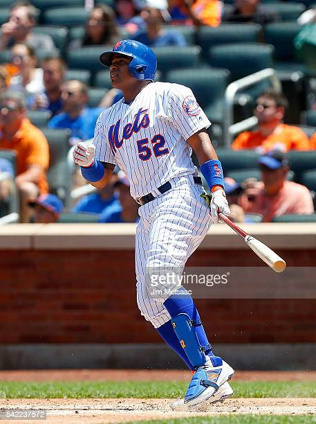 Yoenis Cespedes of the New York Mets in action against the Kansas City Royals at Citi Field on June 22 2016 in the Flushing neighborhood of the...