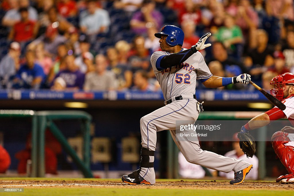 Yoenis Cespedes #52 of the New York Mets looks on after hitting an RBI triple in the ninth inning of the game against the Philadelphia Phillies at Citizens Bank Park on August 26, 2015 in Philadelphia, Pennsylvania. The Mets won 9-4.
