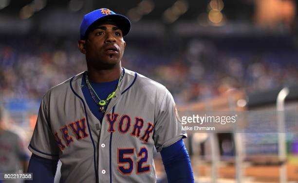 Yoenis Cespedes of the New York Mets looks on during a game against the Miami Marlins at Marlins Park on June 27 2017 in Miami Florida