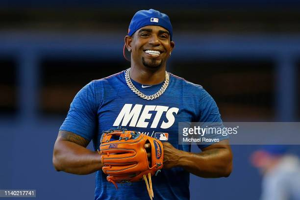 Yoenis Cespedes of the New York Mets looks on during batting practice prior to the game against the Miami Marlins at Marlins Park on April 01, 2019...