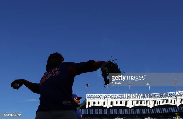 Yoenis Cespedes and Amed Rosario of the New York Mets celebrate a 75 win against the New York Yankees during their game at Yankee Stadium on July 20...