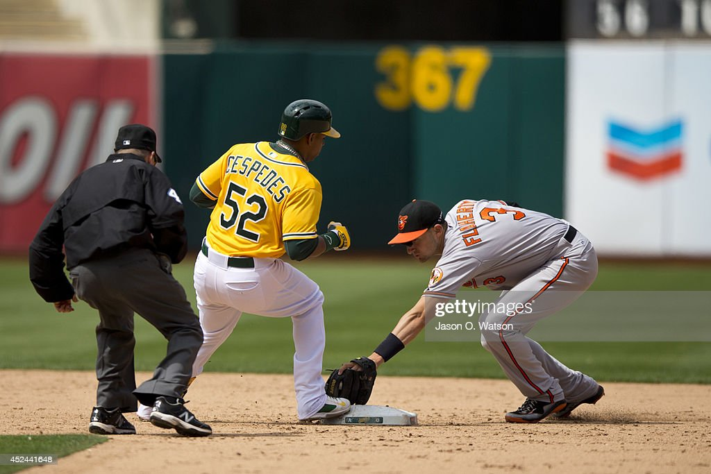 Yoenis Cespedes #52 of the Oakland Athletics steps on second base for a double ahead of a tag from Ryan Flaherty #3 of the Baltimore Orioles during the sixth inning at O.co Coliseum on July 20, 2014 in Oakland, California. The Oakland Athletics defeated the Baltimore Orioles 10-2.
