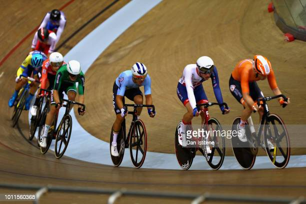 Yoeri Havik of Netherlands leads Oliver Wood of Great Britain in the Men's 40km Points Race during the track cycling on Day Four of the European...