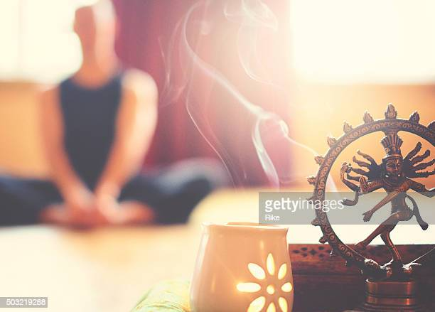 yoga altar with light and meditation - shiva stock pictures, royalty-free photos & images