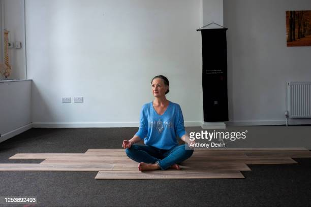 Yoga and Pilates teacher Colette Noke who is still unable to work poses for a portrait at Serephina Holistic and Wellbeing Centre on July 02 2020 in...