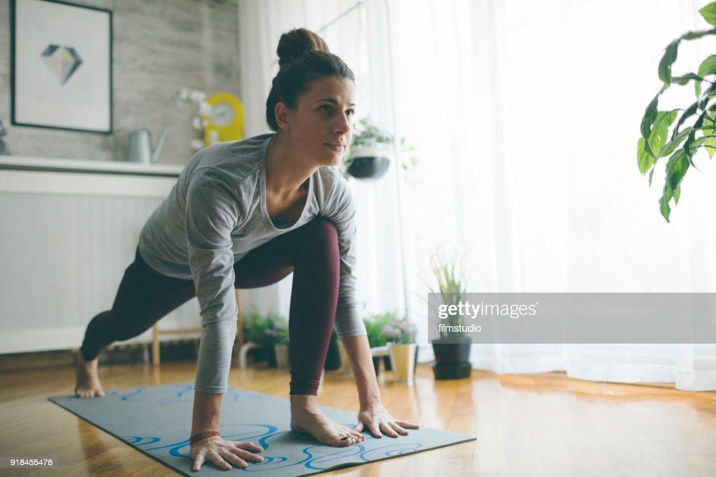 Yoga wie zu Hause fühlen. : Stock-Foto