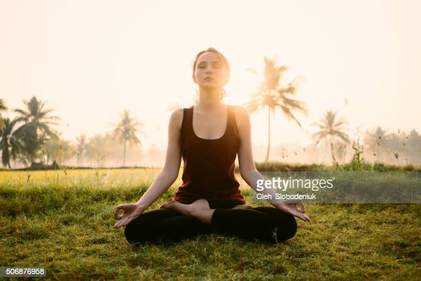 Yoga at the sunrise