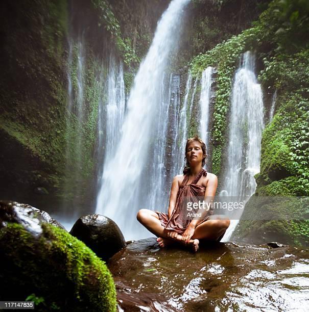 yoga at waterfall