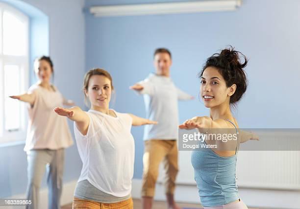 Yoga class and teacher.