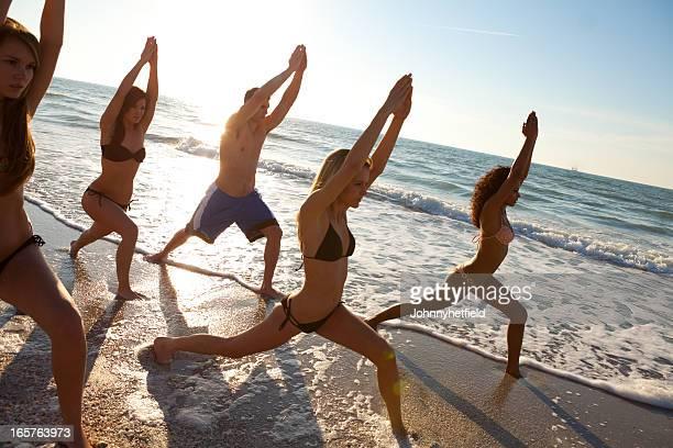 Yoga class at the beach