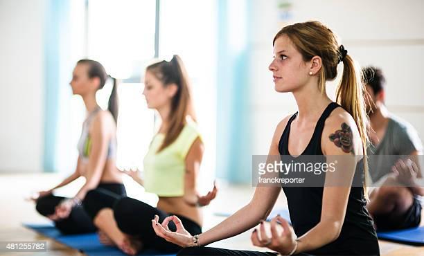 Yoga class on the gym