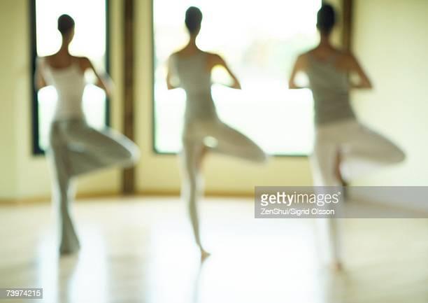yoga class standing in tree pose, defocused - gymnastique douce photos et images de collection