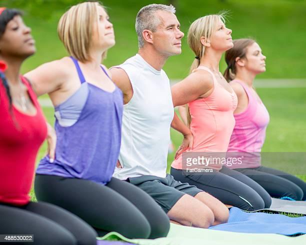 Yoga Deep Breathing Outdoors