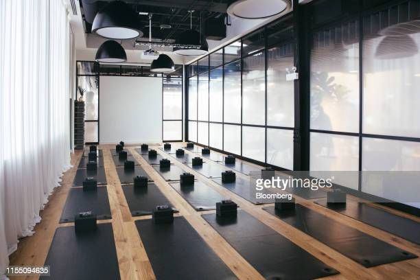Yoga equipment is seen in a studio at a Lululemon Athletica Inc. Store in the Lincoln Park neighborhood of Chicago, Illinois, U.S., on Wednesday,...