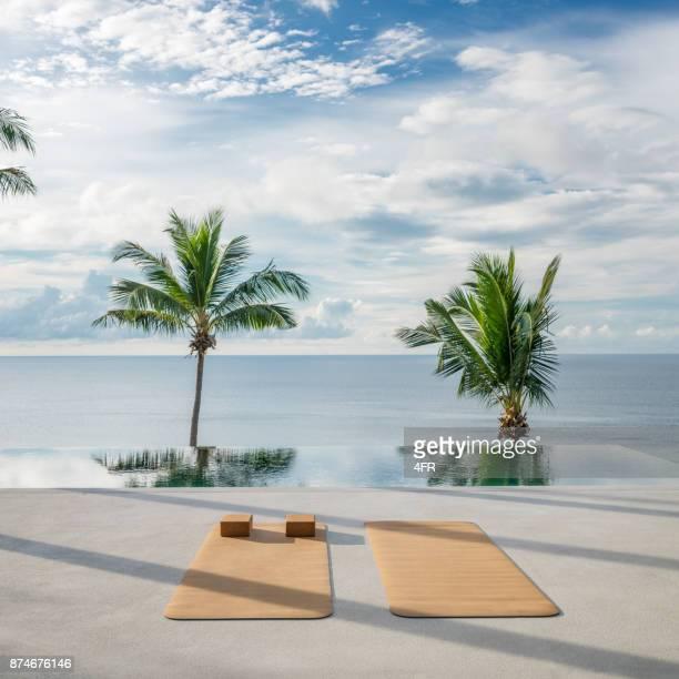 yoga exercise background, palm tree, sunrise, tropical - yoga studio stock pictures, royalty-free photos & images
