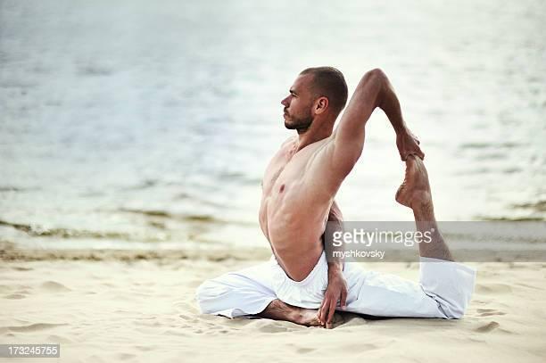 Yoga exercise (beach)