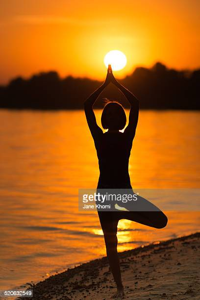 Yoga exercise (sunset beach)